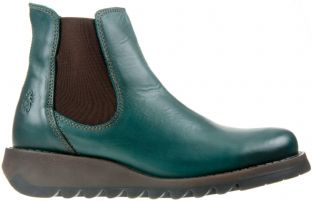 FLY London Salv Womens Petrol Leather Boots